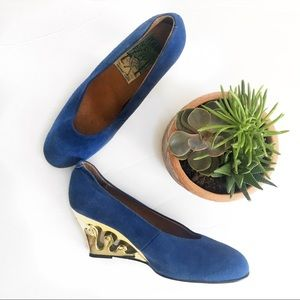 Shoes - Royal Blue Wedges Faux Suede Perfect For Summer!
